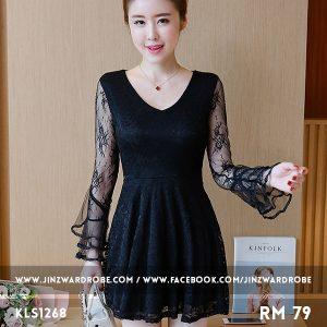 V-neck Lace Gauze Dress
