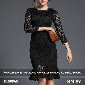 Autumn Trend Lace Fishtail Slim Dress
