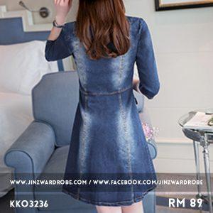 Long-sleeve A-line Denim Dress