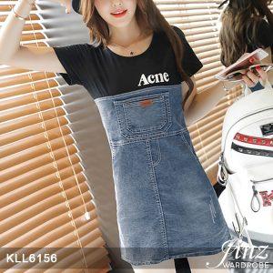 Korea Trend Short-sleeve Denim Stitch Dress