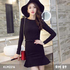 Korea Trend Round-neck Grid Printing Dress