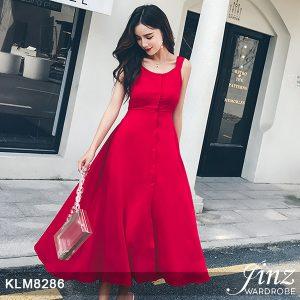 Backless Sleeveless Red Slit Dress