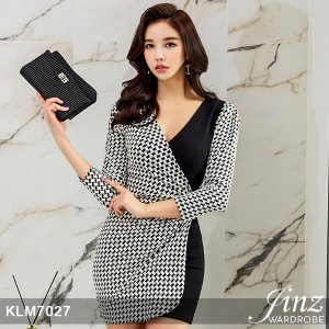 Korea Trend OL V-neck Houndstooth Dress