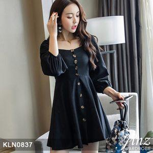 Single-Breasted High-waist Dress